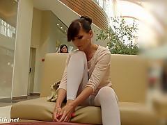 Jeny Smith white pantyhose spycam