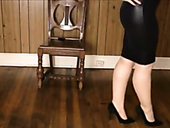Shiney petticoat, heels nylons and leg play!