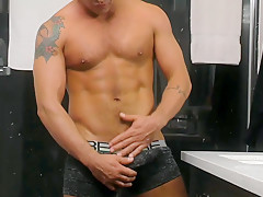 Latino Stud shows us his thick uncut cock