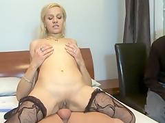 Cuckold watching how her slut girlfriend is being fucked