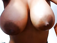 Showing my large jugs in homemade big tit porn clip