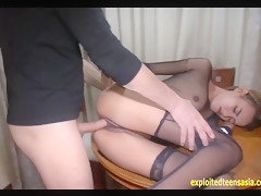 Exclusive Scene Thai Amateur Mon Massive Tits Fucked On Table Wearing Fishnet Top Skinny Teen With Big Udders