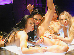 Wild Lesbian Orgy Onstage - RealLesbianExposed