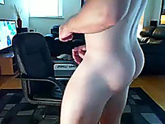 Hot boyfriend is jerking in a small room and memorializing himself on web cam