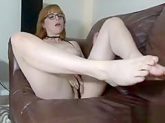 Redhead Pornstar Footjob With Cumshot
