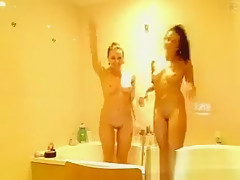 Lesbians In The Living Room And Bathroom