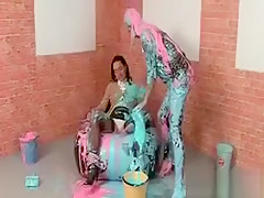 Lusty Wam Lesbo Gets Body Teased With Paint Brush