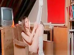 Teen Blonde Stunner Works Her Petite Boobies