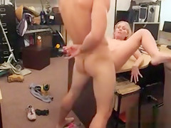 Skinny Blonde Babe Nailed By Pawn Dude In His Office