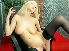 Sexy Blonde Chick Strips And Masturbates
