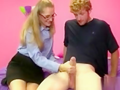 Pov spex mature tugging his dong