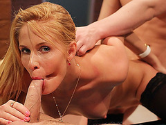 Nasty blond gal enjoys 2 dongs at the same time