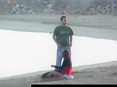Crazy couple fucking on beach