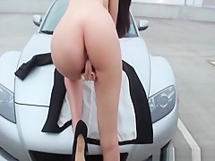 Perfect brunette flashing her tits and masturbating in the car