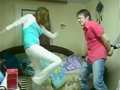 Multiple clothed russian girls ballbusting