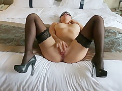 The masked wife is excited when her husband takes on sex with her on camera