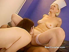 Two skinny Brits taking turns getting double penetrated