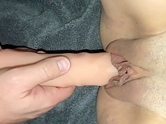 Wife gets fucked by HUGE DILDO and CUMS ALL OVER IT! Wife loves COCK!
