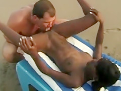 Black girl on holiday enjoys beach sex - Part 1