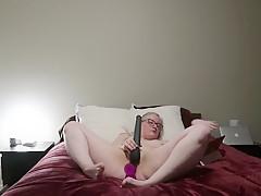 curvy blonde masturbates until hard orgasm
