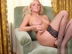 Blonde Beauty Brittany Exposes Pussy In Fishnets!