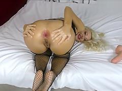 Farting fetish Stretching asshole by big dildo Fisting