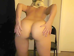 Sexy Hot Ass MILF rides jelly dildo cock on chair cums hard juicy wet-