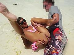 Public Anal sex on beach! Mila Fox