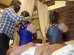 Japanese girls leather bondage with Japanese swim suit and tickling