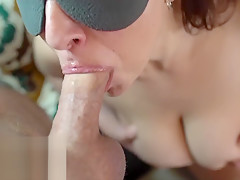 Huge Load Sprayed on Step Moms Face. Taboo First Time Family Blowjob