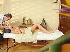 Jizzsprayed amateur gagging on masseurs dick