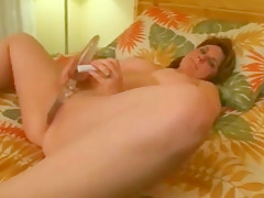 Chubby with shaven pussy Masturbating and riding cock-2