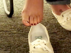 Candid Catch Sexy Feet at Library