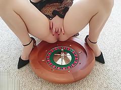 Anyah Kataleya Squirting on Roulette Masturbating with Dragon Glass Dildo
