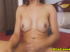 Sexy Hot Shemale Playing Her Hard Cock