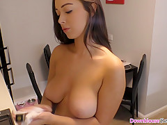 Gorgeous busty brunette babe cleaning stuff with downblouse