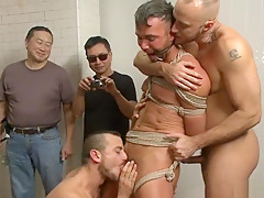 Hot son bound with facial