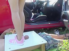 Pink sneakers trampling upon manhood