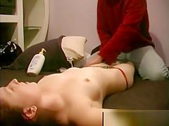 Amateur guy giving his girlfriend a massage