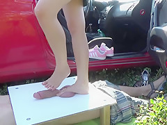 Barefoot cruel trample crushing of cock and balls torture - part 2