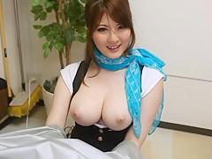 Momoka Nishina big boobed Asian babe in pov blowjob
