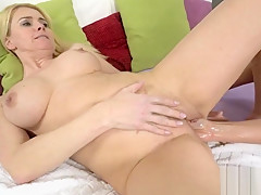Two horny blonde lesbians licking and fucking