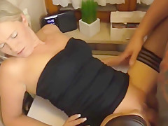 Hot German mom in black stockings loves big cocks! Creampie and cum on your face!