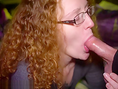 Redhead MILF giving a sloppy late night blowjob and swallow