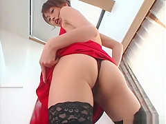 Hikaru Hozuki, hot Asian milf in a sexy dress gets facial
