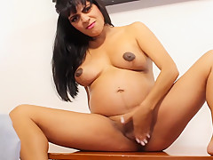 6 Months Pregnant Dance Masturbation with Beads in Pussy