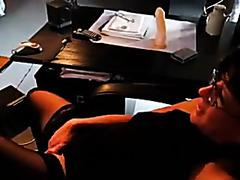 wife watching porn and masturbating.