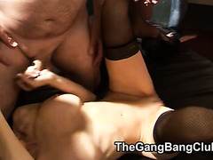 Cumming onto womens bodies at a group-sex