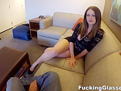 Fucking Glasses - Delilah Blue - Cock rider with bouncy boobs