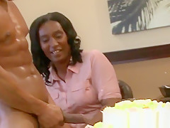 Bday office MILF gone crazy for stripper dick